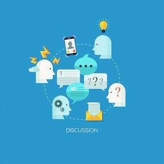 Modello di illustrazione di concetto progettato piatta per la discussione