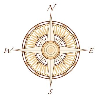 Modello di illustrazione di disegno vettoriale di bussola
