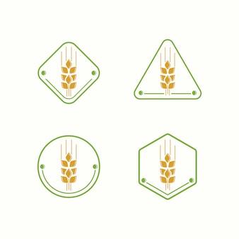 Modello di illustrazione di fattoria logo di grano