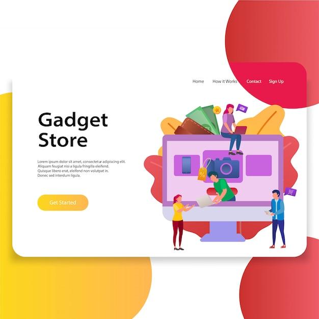 Modello di illustrazione di landing page gadget store web