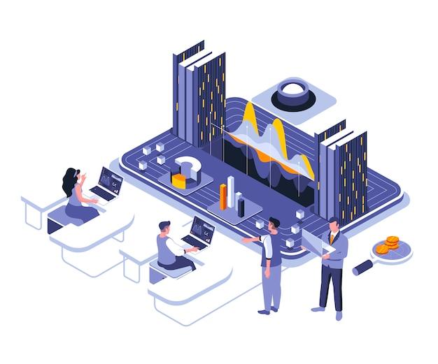 Modello di illustrazione isometrica di analisi dei dati