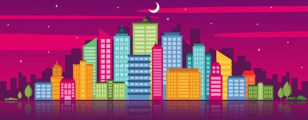 Modello di illustrazione orizzontale del punto di riferimento del paesaggio urbano di concetto di vita di città