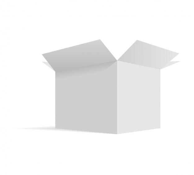 Modello di imballaggio di scatola di cartone aperta isometrica