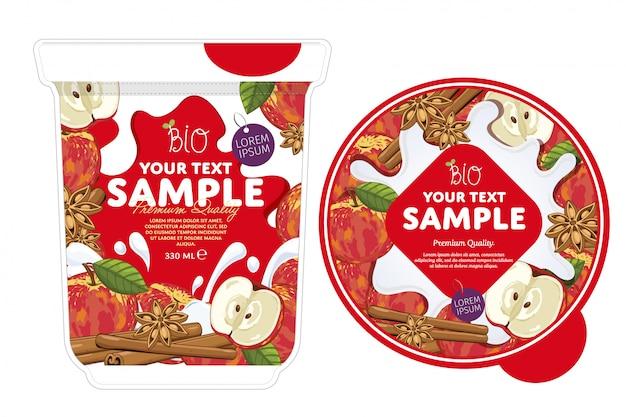 Modello di imballaggio di yogurt alla cannella di mele.