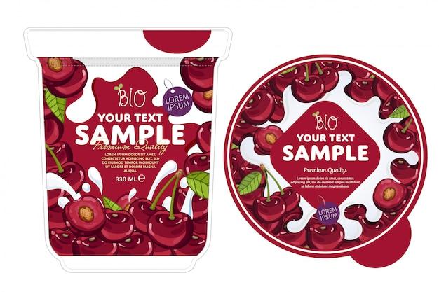 Modello di imballaggio di yogurt alla ciliegia.