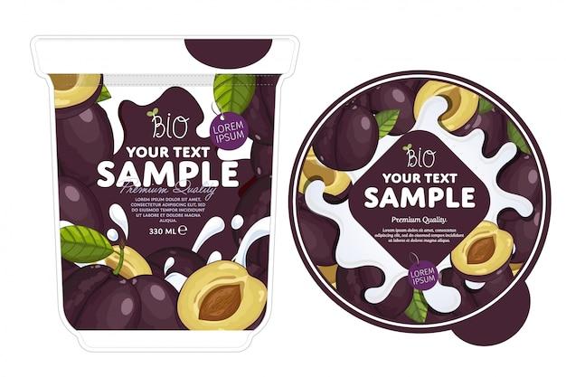 Modello di imballaggio di yogurt di prugne.