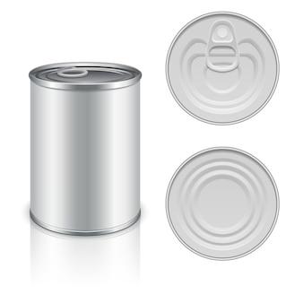 Modello di imballaggio in metallo in scatola per il vostro disegno. alluminio in scatola per alimenti, pacchetto in acciaio