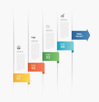Modello di indice della carta della scheda di cronologia di infographics di 4 dati.