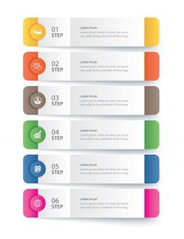 Modello di indice di carta di tab di infographics di dati.