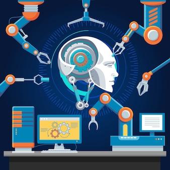 Modello di industria futuristica tecnologica
