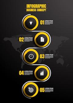 Modello di infografic con 5 passaggi