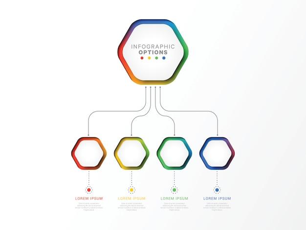 Modello di infografica 3d a quattro passaggi con elementi esagonali. modello di processo aziendale con opzioni per brochure, diagramma, flusso di lavoro, sequenza temporale, web
