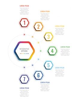 Modello di infografica 3d di sette passaggi con elementi esagonali. modello di processo aziendale con opzioni