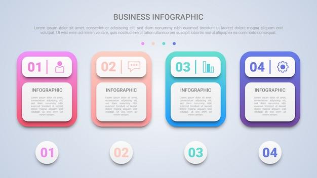 Modello di infografica 3d per le imprese con quattro passi