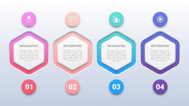 Modello di infografica 4 esagoni colorati