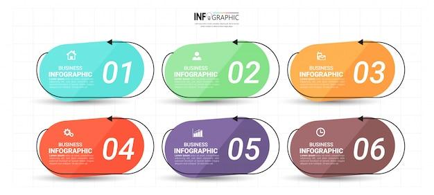Modello di infografica 6 opzioni.