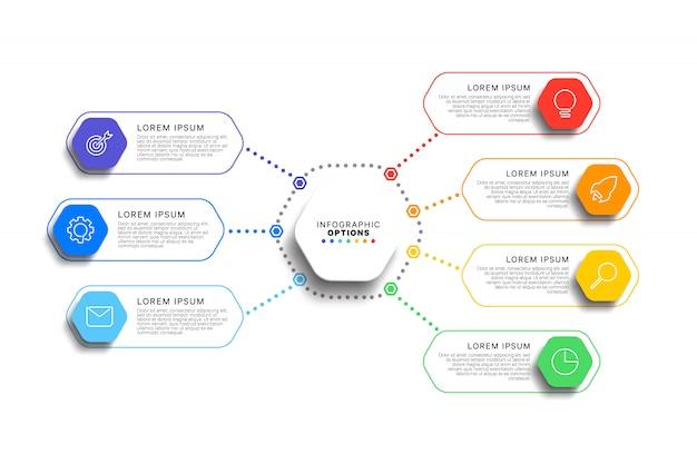 Modello di infografica 7 passi con realistici elementi esagonali su sfondo bianco.