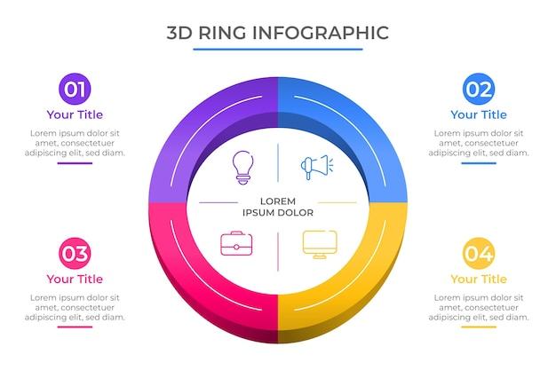 Modello di infografica anello