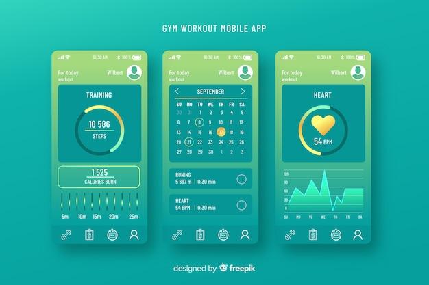 Modello di infografica app mobile fitness