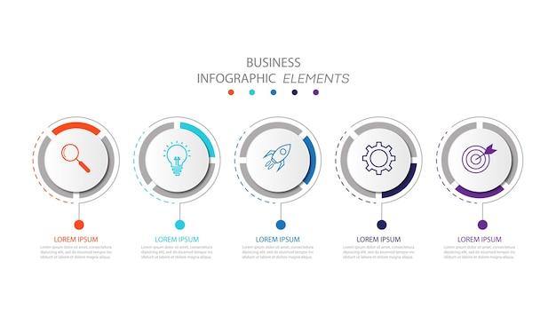 Modello di infografica aziendale di presentazione con 5 opzioni