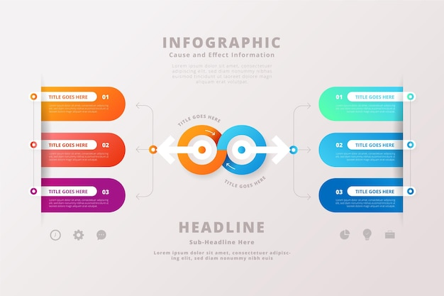 Modello di infografica causa ed effetto gradiente