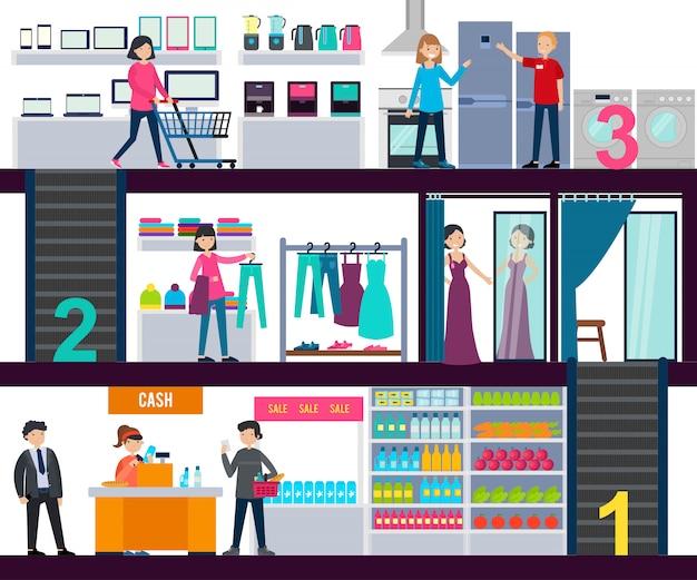 Modello di infografica centro commerciale