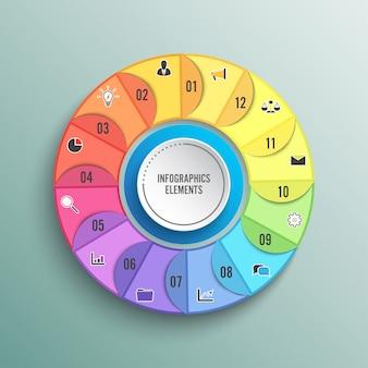 Modello di infografica cerchio grafico a torta con 12 opzioni. concetto di affari. illustrazione.