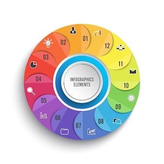 Modello di infografica cerchio grafico a torta con 12 opzioni