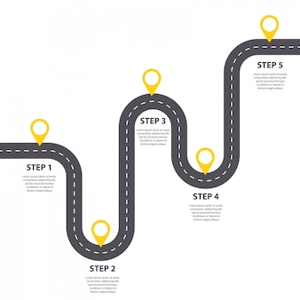 Modello di infografica. cinque passi tortuosa strada asfaltata con puntatori a spillo.