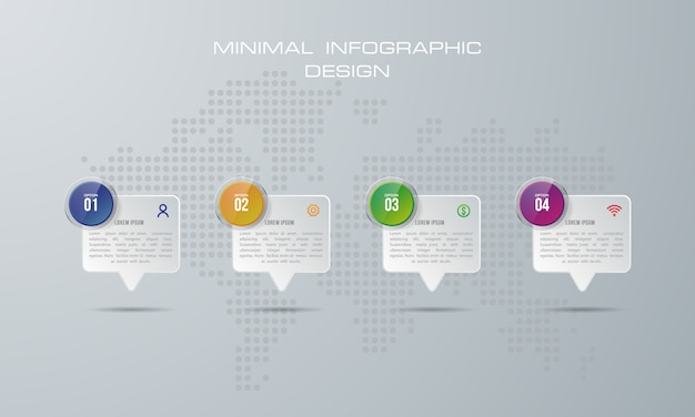 Modello di infografica con 4 opzioni, flusso di lavoro, diagramma di processo