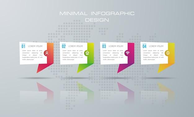 Modello di infografica con 4 opzioni