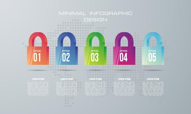 Modello di infografica con 5 opzioni, flusso di lavoro, diagramma di processo, progettazione infografica timeline