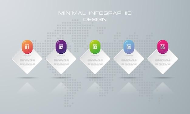 Modello di infografica con 5 opzioni, flusso di lavoro, diagramma di processo