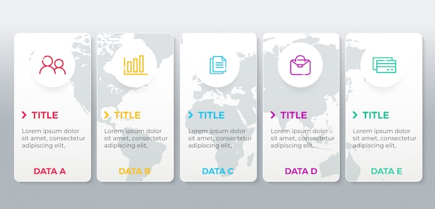 Modello di infografica con 5 passaggi di opzioni