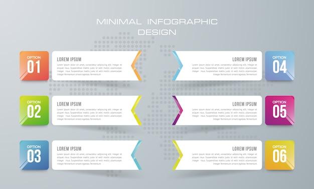 Modello di infografica con 6 opzioni, flusso di lavoro, diagramma di processo, progettazione infografica timeline