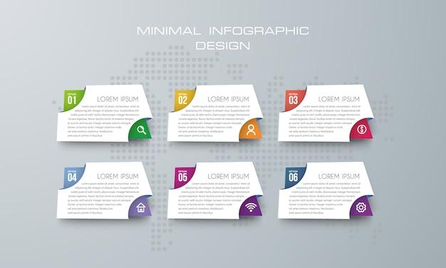 Modello di infografica con 6 opzioni, flusso di lavoro, diagramma di processo