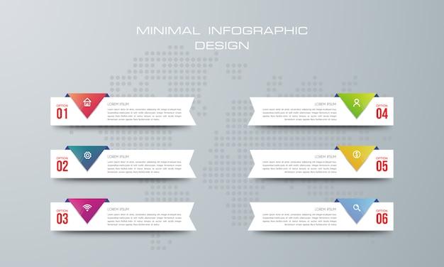 Modello di infografica con 6 opzioni