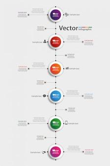 Modello di infografica con 6 passaggi per il successo