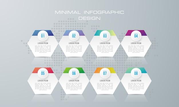 Modello di infografica con 8 opzioni, flusso di lavoro, diagramma di processo, progettazione infografica timeline