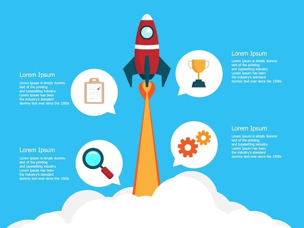Modello di infografica con avvio aziendale in 4 passaggi con il lancio di un razzo