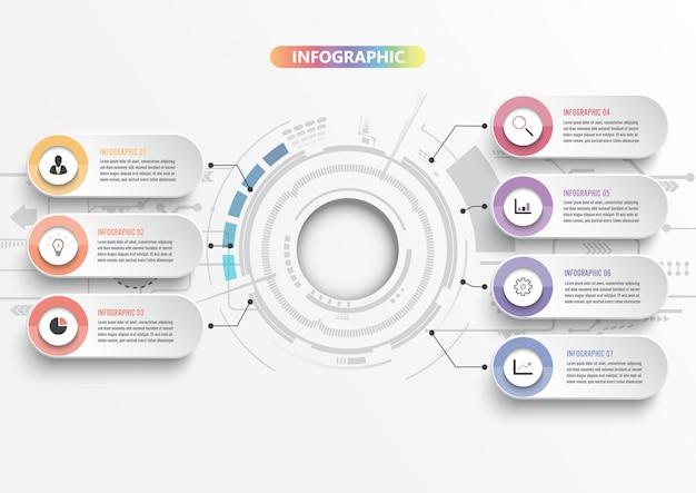 Modello di infografica con carta 3d, cerchi integrati. concetto di business con 7 opzioni. per contenuto, diagramma, diagramma di flusso, passaggi, parti, cronologia, flusso di lavoro, grafico.