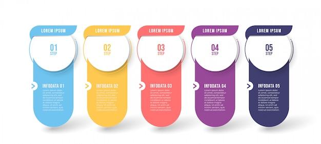 Modello di infografica con cinque passaggi