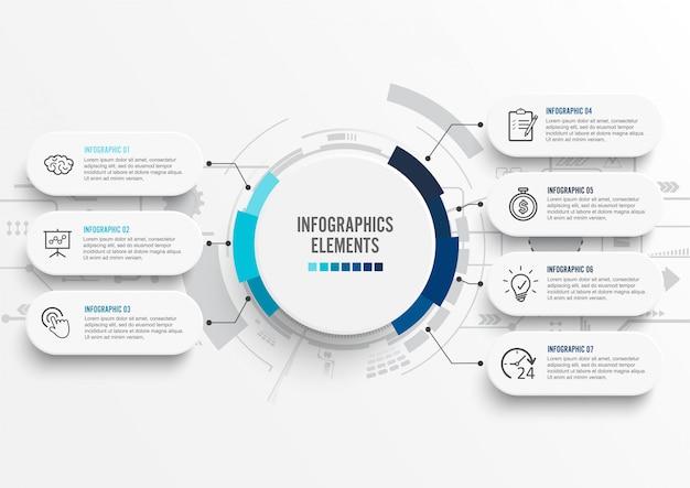 Modello di infografica con etichetta di carta 3d. affari sette opzioni.