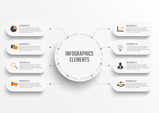 Modello di infografica con etichetta di carta 3d, cerchi integrati. concetto di affari con