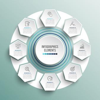 Modello di infografica con etichetta di carta 3d, cerchi integrati.