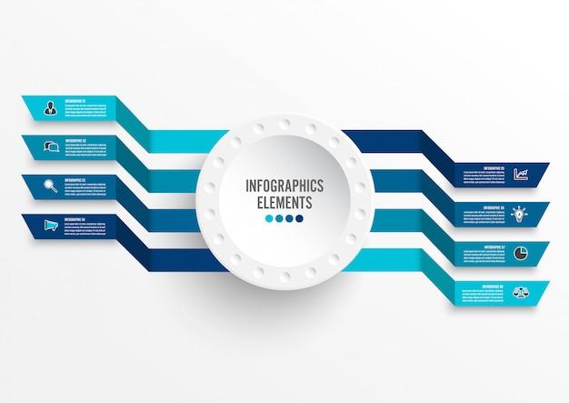 Modello di infografica con etichetta di carta 3d. concetto di business con 8 opzioni.