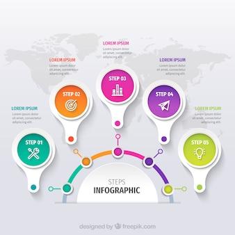 Modello di infografica con forme colorate