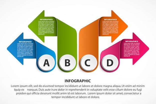 Modello di infografica con frecce per presentazioni aziendali.