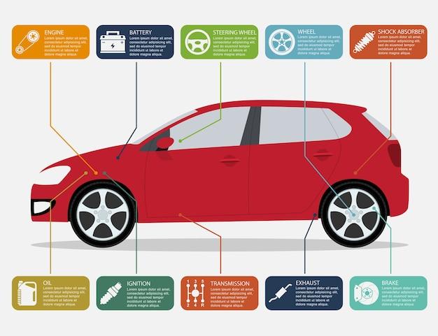 Modello di infografica con icone di parti di automobili e automobili, concetto di servizio e riparazione