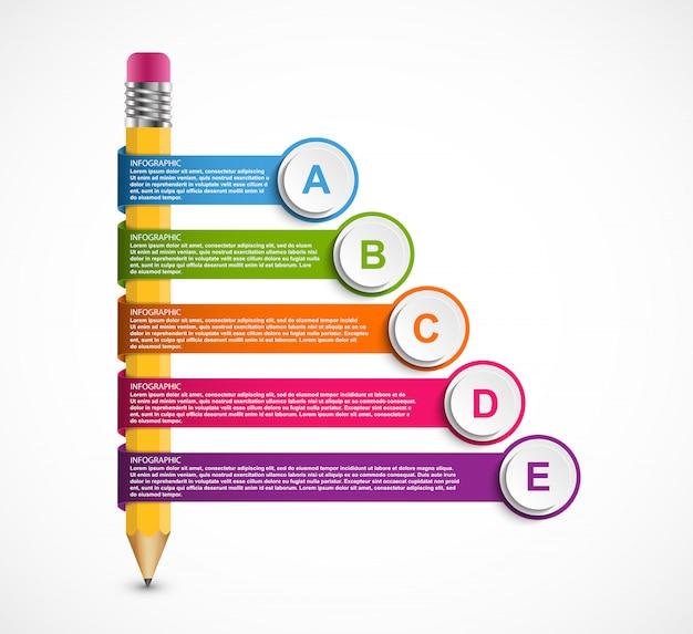 Modello di infografica con la matita.
